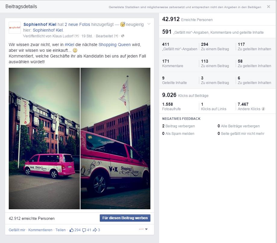 KSK Media erstellt reichweitenstarken Post für Sophienhof Kiel.