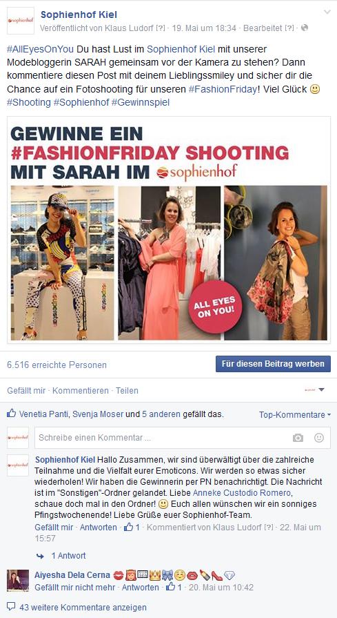 #fashionfriday Gewinnspiel auf der Facebook-Seite des sophienhofs