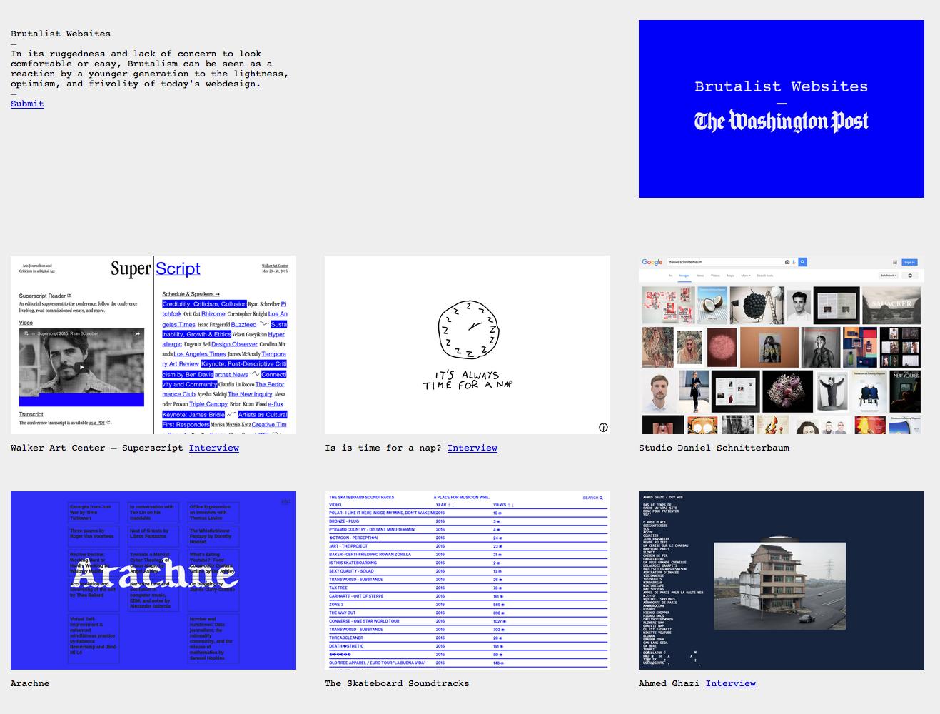 Screenshot http://brutalistwebsites.com/