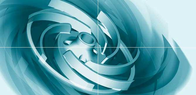 Das Titelbild der Website der EDUR-Pumpenfabrik zeigt ein rotierendes Rad in Türkistönen.