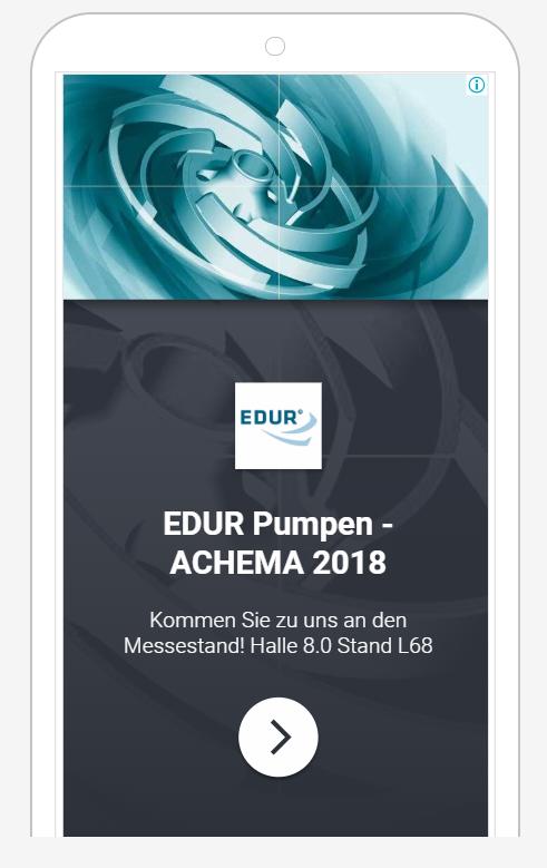Das Bild zeigt eine Anzeige der EDUR-Pumpenfabrik im Displaynetzwerk. Oben ist ein rotierendes Rad in Türkistönen gezeigt und unten ist auf schwarz-transparenten Hintergrund in weißer Schrift EDUR Pumpen - Achema 2018 geschrieben.
