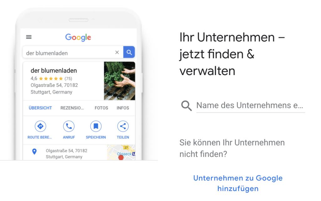 Suchfunktion für das eigene Unternehmen bei Google My Business