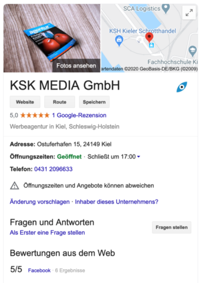Google My Business Eintrag KSK MEDIA