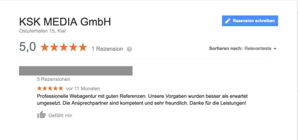 Beispielrezension in Google My Business für KSK MEDIA